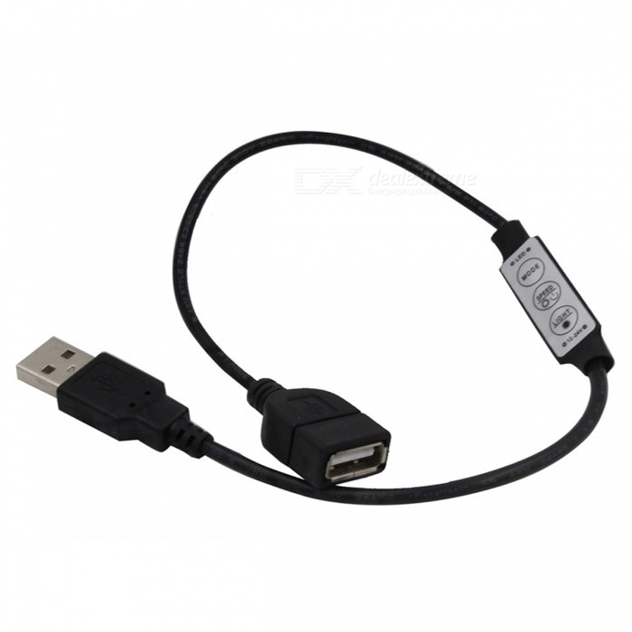 5V LED Light Bar Mini Controller, 3-Key Double Head USB Control Cable