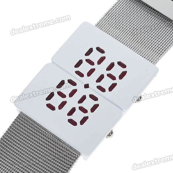 Stylish LED Fashion Stainless Steel Bracelet Wrist Watch (1*CR2016)
