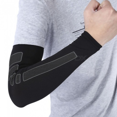 Sports Basketball Playing Extended Arm Elbow Protector - Black (M)
