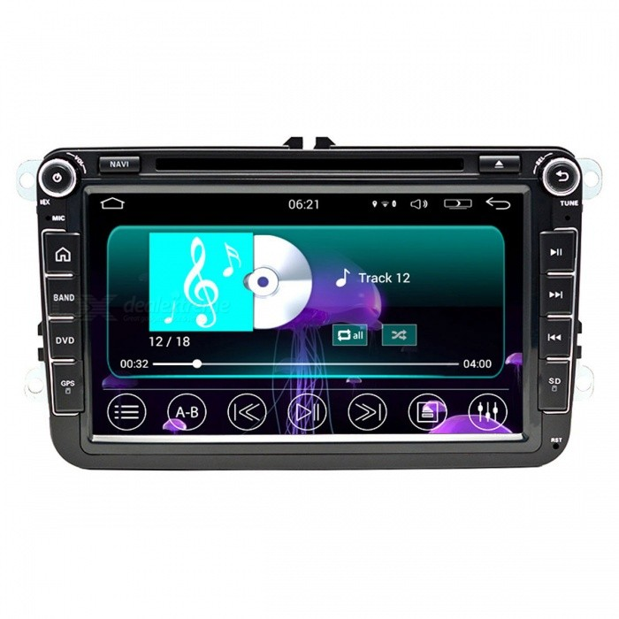 Funrover Updated Version Quad-core Android 8 Car DVD Player for VWCar DVD Players<br>Form  ColorBlack (8 Inches)ModelFV002Quantity1 pieceMaterialABS + MetalStyle2 Din In-DashFunctionBuilt-in speaker,GPS,Subwoofer Output,Radio,AV-IN,Steering Wheel ControlCompatible MakeVW,Others,Skoda,SeatCompatible Car ModelVW/Skoda/Seat cars since 2005 till now with RCD310,RCD315,RCD510,RNS510Compatible Year1998,1999,2000,2001,2002,2003,2004,2005,2006,2007,2008,2009,2010,2011,2012,2013,Others,2014,2015,2016Screen Size8.0 inchesScreen Resolution1024*600Touch Screen TypeYesDetachable PanelNoBrightness ControlYesMenu LanguageEnglish,French,German,Italian,Spanish,Portuguese,Russian,Polish,Greek,Dutch,Arabic,Turkish,Japanese,Bahasa Indonesia,Korean,Thai,Malay,Greek,Romanian,Swedish,Finnish,Chinese Simplified,Chinese Traditional,HebrewCPU ProcessorMTK Android 5.1 Quad-Core 1.6GHzSupport MapIGO,Route66,TOMTOM,Garmin,Sygic,CarelandMain FrequencyOthers,1.6 GHzStore CapacityOthers,16 GBMemory Card SlotStandard TF CardVoice Guidance CruiseYesGPS Dual ZoneNoOperating SystemOthers,Android 5.1Audio FormatsMP3,WMA,APE,FLAC,OGG,AC3,DTS,AACVideo FormatsRM,RMVB,AVI,DIVX,MKV,MOV,HDMOV,MP4,M4V,PMP,AVC,FLV,VOB,MPG,DAT,MPEG,H.264,MPEG1,MPEG2,MPEG4,WMV,TPPicture FormatsJPEG,BMP,PNG,GIF,TIFF,jps(3D),mpo(3D)Station Preset Qty.60Support RDSfor European countriesRadio Response BandwidthAM: 520KHz-1700KHz,FM: 87MHz-110MHzRDSYesRadio TunerAM,FMBuilt-in MicrophoneYesBluetooth FunctionReceived Call,Dialled Call,Missed CallBluetooth VersionBluetooth V3.0Amplifier Peak Power45 WAudio ModeNatural,Rock,Jazz,Classical,Live,Dancing,PopularInterface PortRCA,USB,SD,OEM conector fit radio No aditional adapters necesaryAudio Input2 channelsAudio  Output4 channelsRearview Camera InputYesExternal Memory Max. Support64 GBVideo Input2 channelsVideo Output2 channelsWorking Voltage   10.8~14.4 VWorking Temperature-30~+80 ?Storage Temperature-40~+80°COther FeaturesSNR: 65±5dBCertificationCEPacking List1 x Car DVD player2 x RCA cables 15cm)1 x GPS antenna (300cm)1 x OEM USB cable (100cm)1 x Backup camera video cable (15cm)1 x External microphone (300cm)1 x Wi-Fi antenna (5cm)1 x 4G / DVR USB cable (100cm)1 x 4 Pin RCA (low matched car use only 4cm)<br>