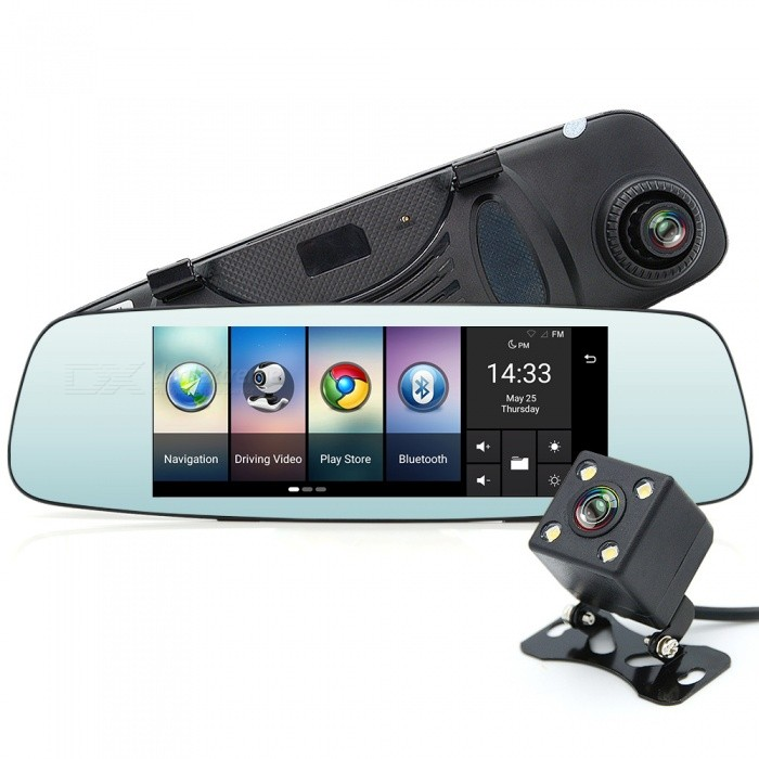 Junsun 4G GPS Bluetooth Wi-Fi Car Camera DVR Mirror with Dual LensCar GPS Navigators<br>Map RegionOthersModelT98Quantity1 setMaterialCompositesForm  ColorBlackBrandJUNSUNChipsetOthers,MT6735Operating SystemOthers,Android 5.1CPUOthers,MT6735 Quad-Core 1.3GHzProcessor Speed1.3 GHzGPS ModuleSiRF Star IIIReceiver Channel Number20Warm Startup Time(-130dBm) 32 hoursCold Startup Time(-130dBm) 60 hoursHot Startup Time(-130dBm) 60 hoursPosition Accuracy2.5m (-135dBm)AntennaExternalBuilt-in Memory / RAM1GBMemory TypeExternal memoryBuilt-in Flash Memory16GBExternal Memory CardTFMax External Memory Supported32 GBMap CardNoSupport MapIGO,SygicScreen Size7.0 inchesScreen TypeOthers,IPS screenScreen Resolution1280 x 720Screen Color500nitMenu LanguageEnglish,German,Italian,Spanish,Portuguese,Russian,Polish,Danish,Dutch,Japanese,Slovak,Czech,Romanian,Finnish,Chinese Simplified,Chinese Traditional,Bulgarian,NorwegianVideo3GP,ASF,AVI,FLV,MOV,MP4,MPG,WMV,Others,H264Audio Compression FormatMP3,WAVImagesJPEG,PNGE-bookTXTFM Radio87.5~108.00MHzFM Transmitter87.5~108.00MHzWi-Fi802.11aBluetooth VersionBluetooth V4.0LoudspeakerBuilt-inBuilt-in MicrophoneYesDVRYesCameraBuilt-inTV FunctionNoAV-INYesWorking Time0.2 hourCharging Time0.3 hourBattery TypeLi-ion batteryBattery Capacity800 mAhInterface1 x mini USB,1 x AV IN,Others,1x TF card slot, 1x GPS port, 1x SIM card slotPacking List1 x Car DVR1 x Data cable1 x GPS module2 x Straps1 x Car charger<br>
