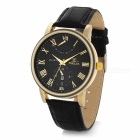 Fashionable Business Round Dial Leather Band Stainless Steel Case Analog Watch (1 x COMSAN377)