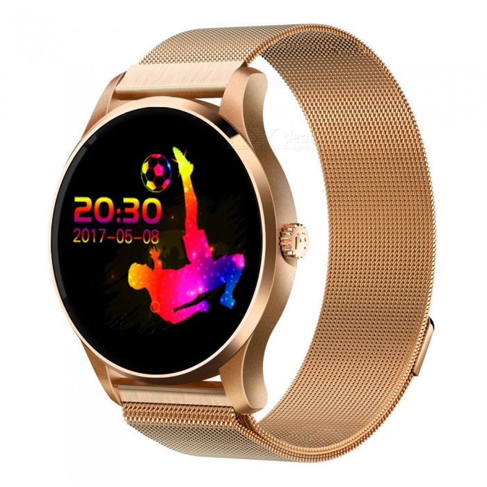 Eastor K88 Metal Bluetooth Smart Watch with Heart Rate Monitor -GoldenSmart Watches<br>Form  ColorGoldenModelK88Quantity1 DX.PCM.Model.AttributeModel.UnitMaterialMetalShade Of ColorBlackCPU ProcessorMTK2502C-ARM7Screen Size1.22 DX.PCM.Model.AttributeModel.UnitScreen Resolution240*204Touch Screen TypeIPSBluetooth VersionBluetooth V4.0Compatible OSAbove of IOS 7 And Above of Androld4.3LanguageEnglish, French, German, Spanish, Portuguese, Italian, RussianWristband Length22 DX.PCM.Model.AttributeModel.UnitWater-proofOthers,IP54Battery ModeReplacementBattery TypeLi-polymer batteryBattery Capacity300 DX.PCM.Model.AttributeModel.UnitStandby Time3 DX.PCM.Model.AttributeModel.UnitCertificationCE ROHS FCCPacking List1 x Smart watch1 x Charging cable1 x English user manual<br>