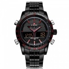 NaviForce 9024 Men's Sports Army Metal Wrist Quartz Watch - Black, Red