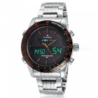 NaviForce 9024 Men's Sport Metal Wrist Quartz Watch - Silver, Orange
