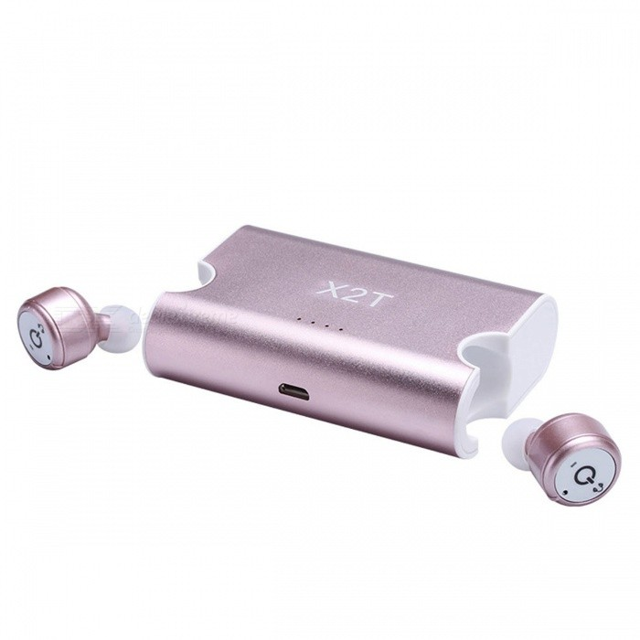Eastor X2T TWS Bluetooth True Wireless Stereo Earphone with Mic - PinkHeadphones<br>Form  ColorPinkBrandOthers,EastorModelX2TMaterialPlastic + metalQuantity1 setConnectionBluetoothBluetooth VersionBluetooth V4.2Bluetooth ChipCSR A64110Operating Range10MConnects Two Phones SimultaneouslyYesHeadphone StyleBilateral,Earbud,In-EarWaterproof LevelOthers,Life WaterproofApplicable ProductsUniversalHeadphone FeaturesPhone Control,Long Time Standby,Noise-Canceling,With Microphone,Lightweight,Portable,Invisible Style,For Sports &amp; ExerciseSupport Memory CardNoSupport Apt-XNoFrequency Response20-24KHzImpedance32 ohmBattery TypeLi-ion batteryBuilt-in Battery Capacity 85 mAhStandby Time100 hoursTalk Time5 hoursMusic Play Time5 hoursPacking List1 x Pair of earphones  1 x Charger Box1 x Charging Cable1 x Bag                3 x Pairs of Headphones caps<br>