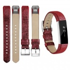 Miimall Leather Replacement Band for Fitbit Alta, Alta HR - Red