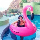 Flamingo Style Floating Pool Swimming Ring for Kids - Deep Pink (90cm)