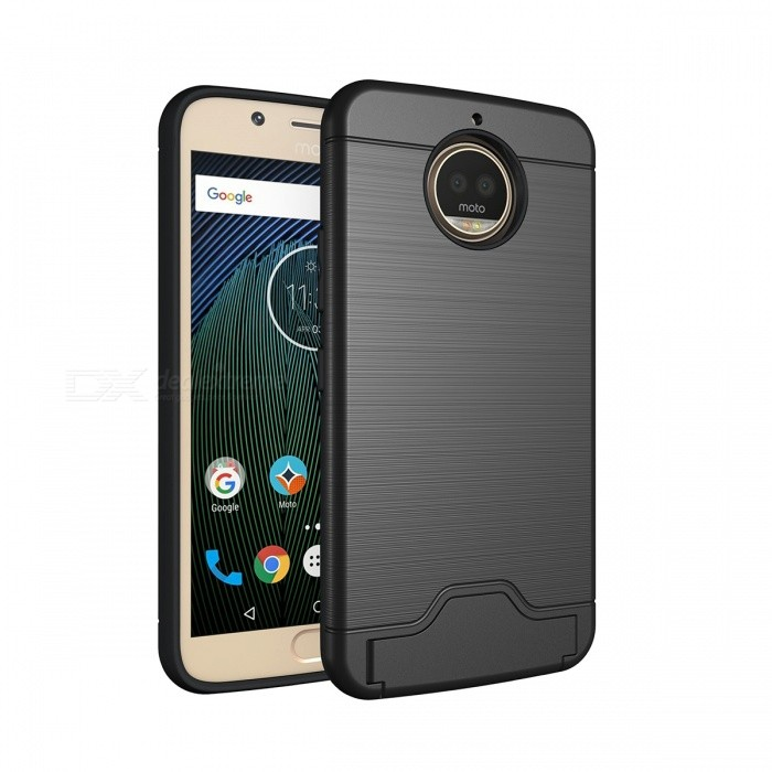 Protective PC, TPU Back Case with Card Slots for Moto G5s Plus- Black
