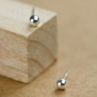 Round Shape 4mm Pure Silver Ear Stud Earrings