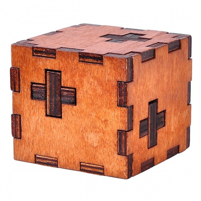 Wooden Swiss Cube 3D Puzzle Educational Toy for Kids - Dark Brown