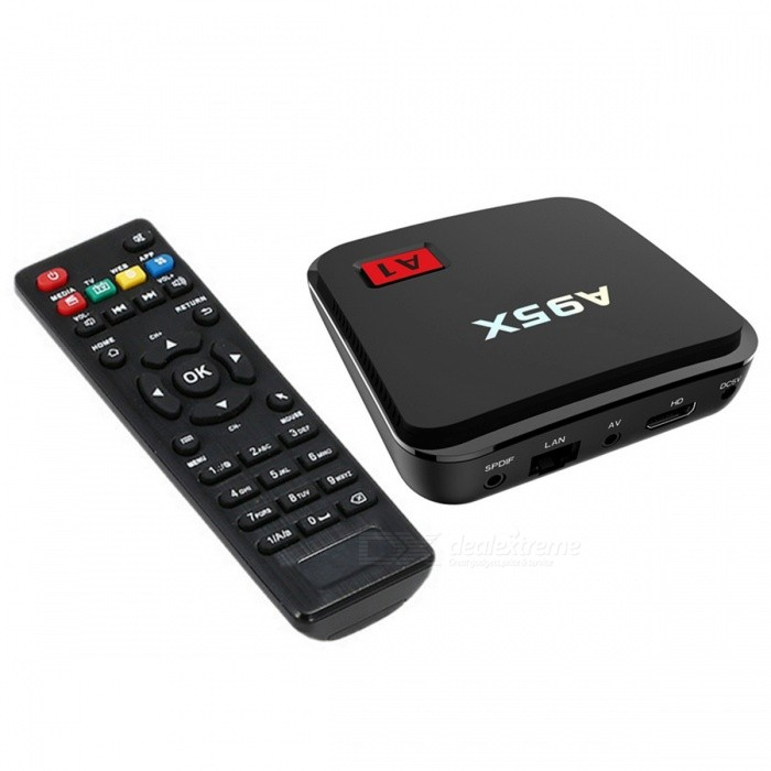 A95X A1 4K x 2K Android 6.0 Quad Core 1GB RAM 8GB ROM TV Box US PlugsSmart TV Players<br>Form  ColorBlackBuilt-in Memory / RAM1GBStorage8GBPower AdapterUS PlugsQuantity1 setMaterialABSShade Of ColorBlackOperating SystemOthers,Android 6.0ChipsetAmlogic S905X Quad core Cortex A53 2.0GHz 64bitCPUOthers,Cortex A53Processor Frequency750MHz+GPUPenta-core Mali-450MP GPU @ 750MHz+Menu LanguageEnglishMax Extended Capacity32GBSupports Card TypeMicroSD (TF)Wi-FiSupport 802.11 b/g/n, 2.4GBluetooth VersionNo3G FunctionYesWireless Keyboard/Mouse2.4GHzAudio FormatsOthers,MP3 / WMA / AAC / WAV / OGG / AC3 / DDP / TrueHD / DTS / DTS / HD / FLAC / APEVideo FormatsOthers,Avi / Rm / Rmvb / Ts / Mkv / Mov / ISO / wmv / asf / flv / dat / mpg / mpeg / Mov / mp4 /Audio CodecsDTS,AC3,FLACVideo CodecsOthers,HD MPEG1 / 2/4H.264H.265HD AVC / VC-1RM / RMVBXvid / DivX3 / 4/5/6RealVideo8 / 9/10VP9Picture FormatsOthers,JPEG / BMP / GIF / PNG / TIFFSubtitle FormatsOthers,SRT / SMI / SUB / SSA / IDX + USBOutput Resolution1080PHDMIHDMI 2.0 4k x 2k 60fpsPower SupplyDC 5V 2APacking List1 x A95X A1 TV Box1 x Power Adapter (5V 2A )1 x Remote Control1 x User Manual1 x HDMI Cable<br>
