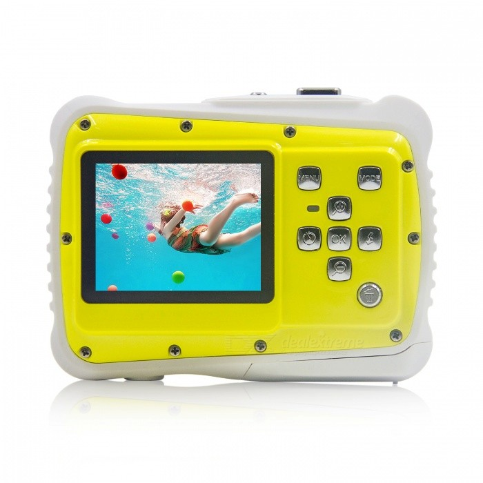 Underwater Waterproof Mini Camera for Christmas Gift - Yellow, WhiteCamcorders<br>Form  ColorYellow + WhiteModelIME-K001Shade Of ColorYellowMaterialABSQuantity1 setImage SensorCMOSImage Sensor Size1/2.5 inchesAnti-ShakeNoFocal DistanceUnlimited cmFocusing RangeN/AEffective Pixels5MPMax. Pixels12 pixelsPicture FormatsJPEGStill Image Resolution4000 x 3000 (12M by software interpolation)/3648 x 2736(10M by software interpolation)/3264 x 2448 (8M by software interpolation)/2592 x 1944 (5M)/ 2048 x 1536(3M)/1600 x 120 (2M)Video FormatAVIVideo ResolutionHD(1280X720)20fps/D1(720X480)30fp/VGA(640x480)30fpsVideo Frame Rate30Cycle RecordYesISOOthers,Auto/100/200/400Exposure CompensationOthersSupports Card TypeTFSupports Max. Capacity32 GBBuilt-in Memory / RAMNoInput InterfaceMicOutput InterfaceMicro USBLCD ScreenYesScreen TypeTFTScreen Size2.0 inchScreen Resolution1080pBattery included or notNoBattery Measured Capacity 14000-15000 mAhNominal Capacity14000-15000 mAhBattery TypeAAABattery Quantity2 setWaterproofYesSupported LanguagesEnglish,French,German,Italian,Spanish,Portuguese,DutchCertificationCE, RoHSPacking List1 x Camera1 x Lanyard1 x Data cable1 x User manual<br>