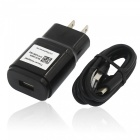 US Plugs USB 5V 1.8A Adaptive Fast Charger, Charging Cable - Black