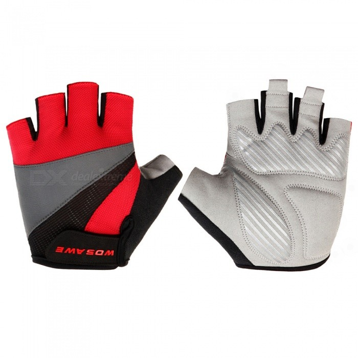WOSAWE Unisex Anti-slip Half-Finger Gloves for Cycling - Red (L)