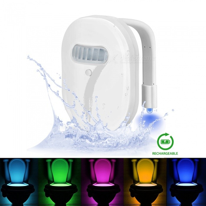 ELIMI Rechargeable Toilet Night Light with Waterproof Design - White