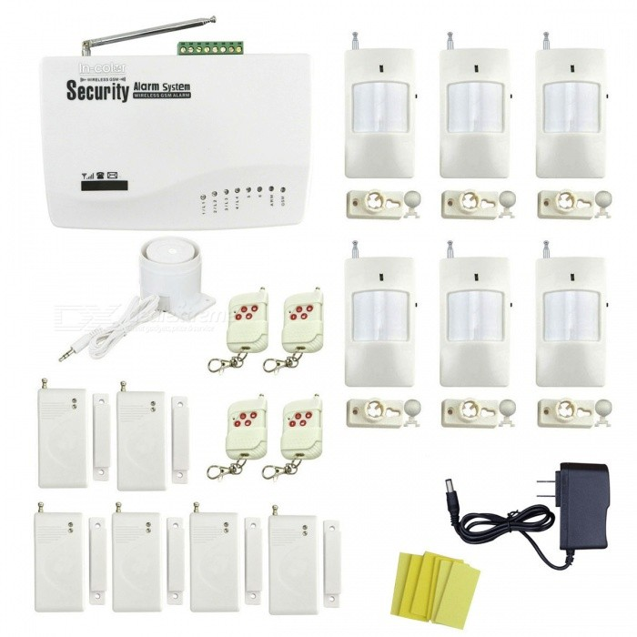 IN-Color Global Universal Wireless GSM Home Security Alarm SystemAlarm Systems<br>Form  ColorWhitePower AdapterUS PlugModelIN-176538AMaterialPlasticQuantity1 setRemote Control Range30 cmVoice Decibels110dBPower AdaptorYesPower Supply12VWorking Temperature-10~40 ?Working Humidity90%Working Frequency433MHzBattery Number12Rated Current1 ARate Voltage12VMobile Phone PlatformNoCertificationCEOther FeaturesSupport English, Russian, PolishPacking List1 x Host (built-in AAA battery, 67.2V, DC) 1 x Power (110~240V, 110cm-cable) 4 x Remote controls (DC12V / 23A included) 6 x Door / window magnetic detectors (9V included)6 x Wireless infrared detectors (DC9V, 6F22,  included) 1 x Mini siren (80cm-cable) 6 x Stickers 1 x English user manual<br>