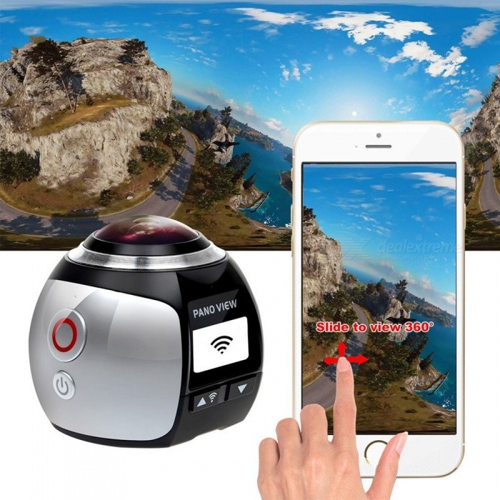 HD Panorama Wi-Fi 360 Degree Action Camera with 16GB Storage - SilverSport Cameras<br>Form  ColorSilver + Black + dual battery +16BG memoryShade Of ColorSilverMaterialABSQuantity1 pieceImage SensorCMOSAnti-ShakeYesFocal DistanceN/A cmFocusing RangePhotographed function: Panoramic (5M/8M/12M/16M)Effective Pixels2448 x 2448ImagesJPGStill Image ResolutionImage Resolution: 16M(4096 x 4096), 12M(3264 x 3264), 8M(2880 x 2800), 5M(2448 x 2448)VideoMP4Video Resolution2448P(30fps); 2048P(30fps); 1440P(60fps / 30fps); 1072P(60fps / 30fps)Video Frame Rate15,25,30,60,120Cycle RecordYesISONoExposure Compensation-2;-1.7;-1.3;-1;-0.7;-0.3;0;+0.3;+0.7;+1;+1.3;+1.7;+2.0Supports Card TypeSDSupports Max. Capacity128 GBLCD ScreenYesBattery Measured Capacity 1200 mAhNominal Capacity1200 mAhBattery included or notYesBattery Quantity2 setVoltage3.7 VPacking List1 x Mini Camera2 x Batteries1 x 16GB Memory1 x TF card reader3 x Switch Supports1 x Bicycle Stand1 x USB Cable2 x Helmet Bases1 x Waterproof Case (underwater 30m standard) 1 x User Manual(English)<br>