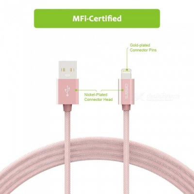 Omars 6ft Nylon Braided USB Cable with Lightning Connector - Rose Gold