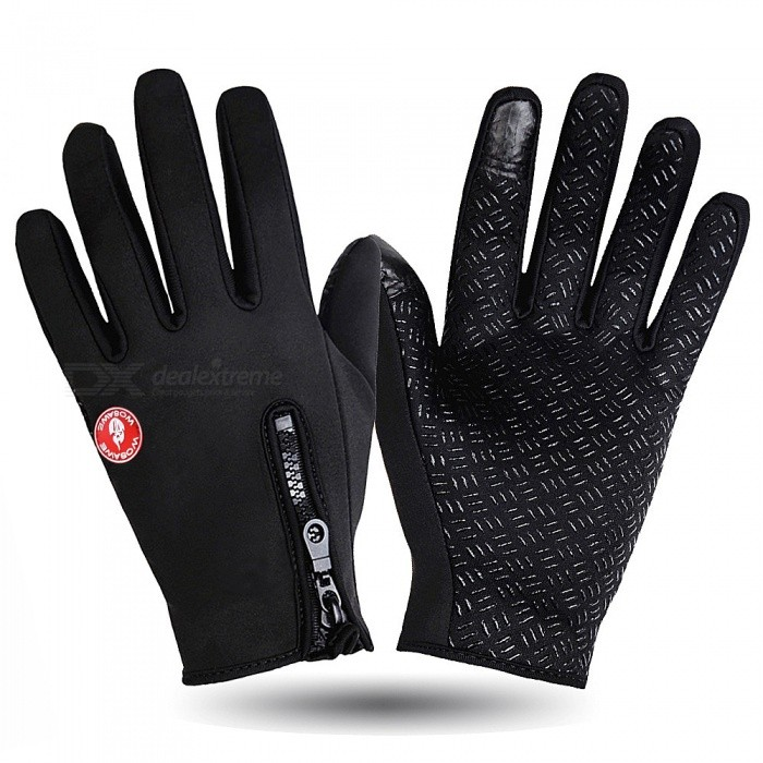 WOSAWE Outdoor Cycling Warm Anti-Slip Full-Finger Gloves - Black (L)