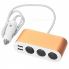 SZFC 120W 3-Socket Car Cigarette Lighter Charger with Dual USB -Golden