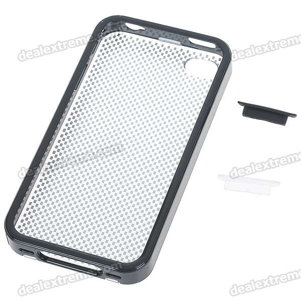 Protective Crystal Case with Data Anti-Dust Kits for iPhone 4 (Black)