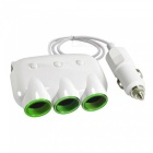 SZFC 120W 3-Socket Car Cigarette Lighter Charger with Dual USB - White