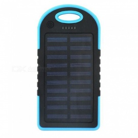 ZHAOYAO Portable 5000mAh Solar Power Bank with Dual USB Ports - Blue