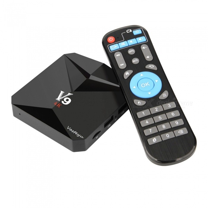 V9 Android 7.1 Smart TV Box Amlogic S912 3GB RAM, 32GB ROM, EU PlugSmart TV Players<br>Form  ColorBlackBuilt-in Memory / RAM3GBStorage32GBPower AdapterEU PlugQuantity1 setMaterialABSShade Of ColorBlackOperating SystemOthers,Android 7.1ChipsetAmlogic S912 Octa core ARM Cortex-A53CPUOthers,Cortex-A53Processor Frequency2GHzGPUARM Mali-T820MP3 GPU up to 750MHz (DVFS)Menu LanguageOthers,English/French/German/Spanish/Italian/ etc multilateral languagesMax Extended Capacity32GBSupports Card TypeOthers,TFWi-Fi2.4G/5G WIFIBluetooth VersionBluetooth V4.03G FunctionYesWireless Keyboard/Mouse2.4GAudio FormatsOthers,MP3 / WMA / AAC / WAV / OGG / AC3 / DDP / TrueHD / DTS / DTS / HD / FLAC / APEVideo FormatsOthers,Avi / Rm / Rmvb / Ts / Mkv / Mov / ISO / wmv / asf / flv / dat / mpg / mpeg / Mov / mp4 /Audio CodecsDTS,AC3,FLACVideo CodecsOthers,HD MPEG1 / 2/4H.264H.265HD AVC / VC-1RM / RMVBXvid / DivX3 / 4/5/6RealVideo8 / 9/10VP9Picture FormatsOthers,JPEG / BMP / GIF / PNG / TIFFSubtitle FormatsOthers,SRT / SMI / SUB / SSA / IDX + USBOutput Resolution1080PHDMIHDMI 2.0 up to 4K2K@60FPSPower Supply5V 2APacking List1 x V9 Android TV Box 1 x Power Adapter (5V 2A )1 x Remote Control1 x User Manual 1 x HDMI Cable<br>