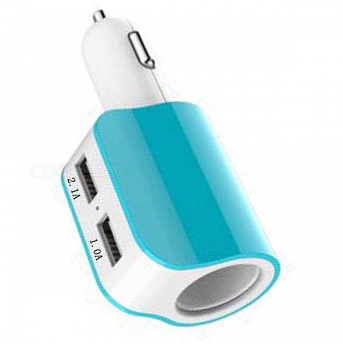SZFC 120W Car Cigarette Lighter Charger with Dual USB Ports - Blue