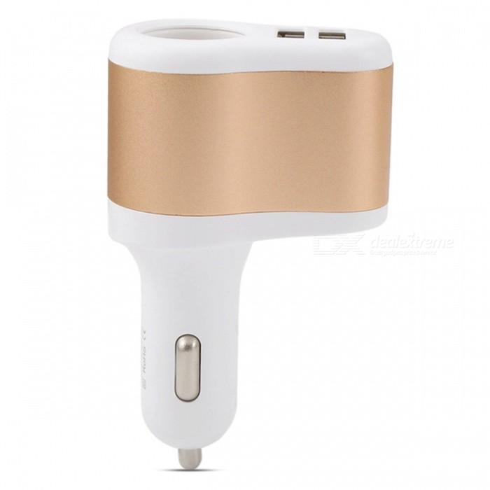 SZFC 30W Car Cigarette Lighter Charger with Dual USB Ports - Golden