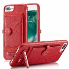 BLCR PU Leather Case with Card Slots for IPHONE 7 Plus - Red