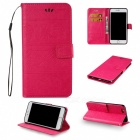 BLCR Elephant Pattern PU Wallet Case for IPHONE 7 Plus - Deep Pink