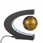 C Shape Magnetic Levitation Floating World Map Globe Model - Golden