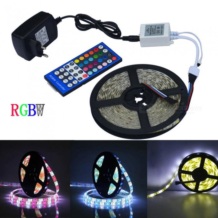 JIAWEN Waterproof 5050SMD 5m RGBW Flexible LED Light Strip (DC 12V)5050 SMD Strips<br>Form  ColorWhiteColor BINMulti-colorMaterialCircuit board + ABSQuantity1 setPowerOthers,16WRated VoltageAC 100-240 VChip BrandCreeEmitter Type5050 SMD LEDTotal Emitters300Color Temperature6000-6500KWavelength700-635nm(red) 560-490nm(green) 490-450nm(blue)Theoretical Lumens1600 lumensActual Lumens1280 lumensPower AdapterEU PlugPacking List1 x 5M RGBW LED strip1 x 2A Power Supply (Input: AC100-240V, Output: DC-12V/3A) 1 x RGBW control box1 x Remote controller<br>