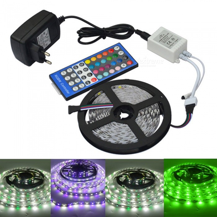 JIAWEN Not-Waterproof 5050SMD 5m RGBW Flexible LED Light Strip (DC12V)5050 SMD Strips<br>Form  ColorWhiteColor BINOthersMaterialCircuit board + ABSQuantity1 setPowerOthers,16WRated VoltageAC 100-240 VChip BrandCreeEmitter Type5050 SMD LEDTotal Emitters300Color Temperature6000-6500KWavelength700-635nm(red) 560-490nm(green) 490-450nm(blue)Theoretical Lumens1600 lumensActual Lumens1280 lumensPower AdapterEU PlugPacking List1 x 5M RGBW LED strip1 x 2A Power Supply(Input: AC100-240V, Output: DC-12V/3A) 1 x RGBW control box1 x Remote controller<br>