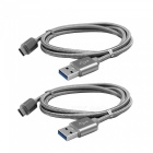 USB 3.1 Type-C to USB 2.0 Charging Data Cables - Grey (2 PCS, 1m)