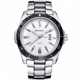 50m Waterproof Stainless Steel Men's Fashion Calendar Watch - Silver