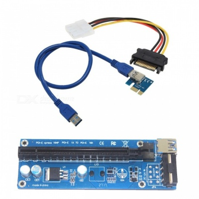 BSTUO USB 3.0 PCI-E 1X to 16X Riser Adapter Card Extender Cable 4pin