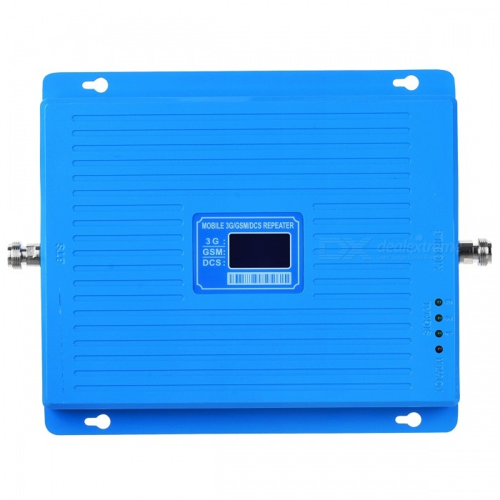 3G 4G 900/1800/2100MHz GSM DCS WCDMA Signal Booster Kit for CellphoneSignal Booster<br>Form  ColorSignal Booster Kit - Blue (US Plugs)Quantity1 pieceMaterialAluminum alloyNetwork Type2G,3G,4G,Others,GSM 900Hz / DCS 1800MHz / WCDMA 2100MHzNetwork DetailsGSM,WCDMA,LTE,Others,GSM 900Hz / DCS 1800MHz / WCDMA 2100MHzFrequency RangeUp link:890~915MHz /1710~1785MHz /1920~1990MHz.  Down link: 935~960MHz /1805~1880 MHz / 2110~2180MHzShade Of ColorBlueApplicationIndoor,Outdoor,Others,Office, factory, meeting room, market, publicFrequency Range Uplink890~915MHz /1710~1785MHz /1920~1990MHzFrequency Range Down Link935~960MHz /1805~1880 MHz / 2110~2180MHzMax. Coverage Square Meters500~3000 square meterGain (dBi)65Output Power1 WNoise Figure (Db)Electromagnetic CompatibilityETS300609-4I/O Impedance50Power AdapterUS PlugConnector TypeNOther FeaturesSupport GSM / DCS / WCDMA 900~1800~2100MHz; Output power: 30dBmPacking List1 x Signal booster1 x Indoor ceiling omni-directional antenna1 x 10m Connecting cable1 x Ceiling Antenna with 3 Meters Cable1 x US Plugs power adapter1 x English user manual<br>
