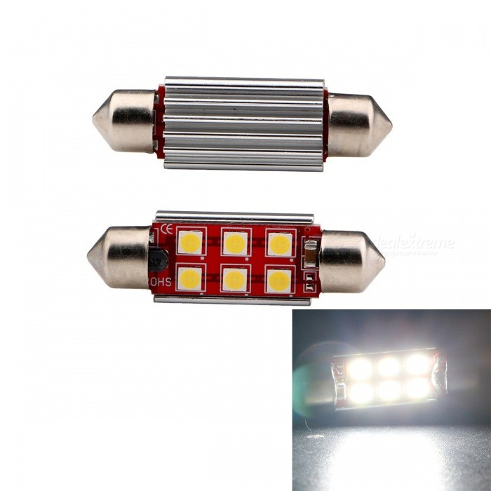 JRLED 39mm Festoon 3W 6-SMD Cold White Light Car Reading Lamps (2 PCS)Car Interior Lights<br>Color BIN39mm Cold WhiteModelN/AQuantity2 piecesMaterialAluminum alloy +PCForm  ColorSilver + RedEmitter TypeOthers,3030 SMDChip BrandOSRAMChip Type3030 SMDTotal Emitters6Power3WColor Temperature6500 KWavelengthN/A cmTheoretical Lumens300 lumensActual Lumens300 lumensRate VoltageDC12-24VWaterproof FunctionNoConnector TypeFestoon 39mmOther FeaturesSmall size, high brightness, is a good choice for car reading lights, trunk lightsApplicationReading lampCertificationCE ROHSPacking List2 x LED Lamps<br>