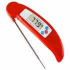 Kitchen Electronic Digital Food Thermometer with Folding Probe - Red