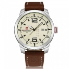 NaviForce 9063 Mens Sport Leather Wrist Quartz Watch - Silver, White