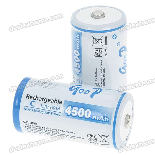 1.2V 4500mAh Rechargeable Ni-MH C Batteries - Pair 8pcs pkcell battery aaa pre charged nimh 1 2v 1200mah ni mh 3a rechargeable batteries up to 1000mah capacity cycle 1200times