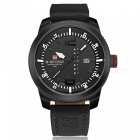 NaviForce 9063 Men's Sports Leather Wrist Quartz Watch - Black