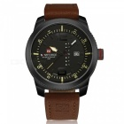 NaviForce 9063 Men's Sport Leather Wrist Quartz Watch - Black, Brown