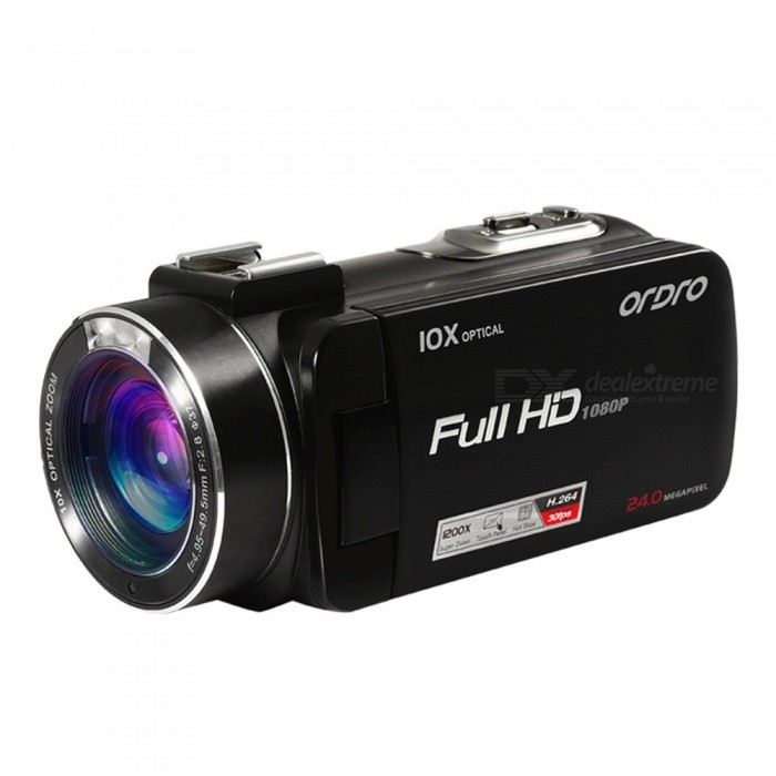 Ordro HDV-Z82 DV 1080P 10X Optical Zoom Digital Video Camera - BlackCamcorders<br>Form  ColorBlackModelHDV-Z82Shade Of ColorBlackMaterialPlasticQuantity1 setImage SensorCMOSImage Sensor SizeOthers,1/3 InchAnti-ShakeYesFocal Distancef=4.95~49.5 mmFocusing Range0.1m~infinityOptical Zoom10XDigital ZoomOthers,120XBuilt-in SpeedliteNoApertureF.NO 2.8Effective Pixels5.0MPMax. Pixels24 MPPicture FormatsJPEGStill Image Resolution24M/20M/16M/12M/10M/7M(HD)/5M/3M/2M(HD)/VGAVideo FormatMOVVideo ResolutionFHD: 1920*1080(30fps)      HD: 1280*720(60fps) /(30fps)  VGA :(640*480)30fpsVideo Frame Rate30,60Audio SystemMonophonyCycle RecordNoISOOthers,AutoExposure CompensationOthers,(+3.0~-3.0)Scene ModeAuto/Scenery/Portrait/Night Scenery/ Night Portrait/High Sensitivity/BeachWhite Balance ModeOthers,Others(Auto / Daylight / Cloudy / Incandescent / Fluorescent)Supports Card TypeSDSupports Max. Capacity64 GBBuilt-in Memory / RAMNoInput InterfaceMicOutput InterfaceMicro USB,Micro HDMILCD ScreenYesScreen TypeTFTScreen Size3 inchesBattery included or notYesBattery Measured Capacity 1250 mAhNominal Capacity1250 mAhBattery TypeLi-ion batteryBattery Quantity1 pieceVoltage3.7 VBattery Charging Time3 hoursWaterproofNoSupported LanguagesEnglish,French,German,Italian,Spanish,Portuguese,Polish,Dutch,Turkey,Japanese,Simplified Chinese,Traditional ChinesePacking List1 x Camcorder 1 x DV Bag 1 x USB Cable (1.1m)1 x Charger (100~240V)1 x Rechargeable Lithium-ion Battery1 x Remote Controller (With 1pc 3V non-rechargeable lithium battery)1 x Lens Cap1 x HDMI Cable (1.2m)1 x Chinese / English Users Manual<br>