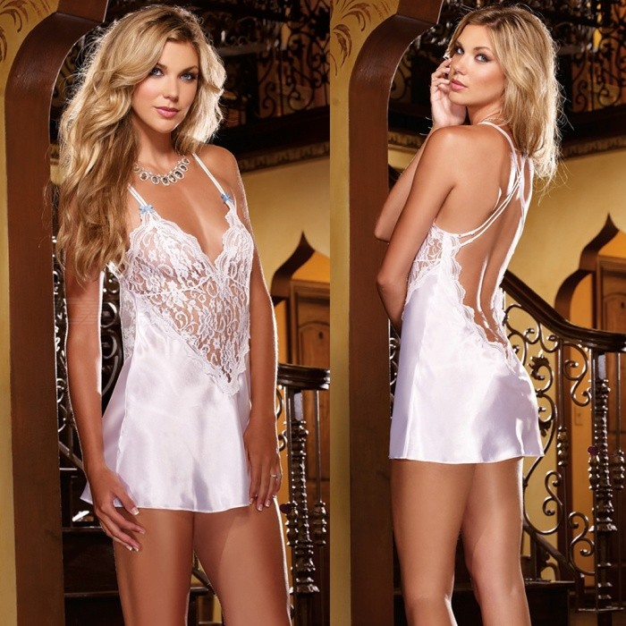 Sexy Back Crossed Lace Fun Dress Lingerie Night Skirt - White