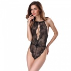 Sexy Open Chest Style Full Lace One-Piece Fun Pajamas Lingerie - Black