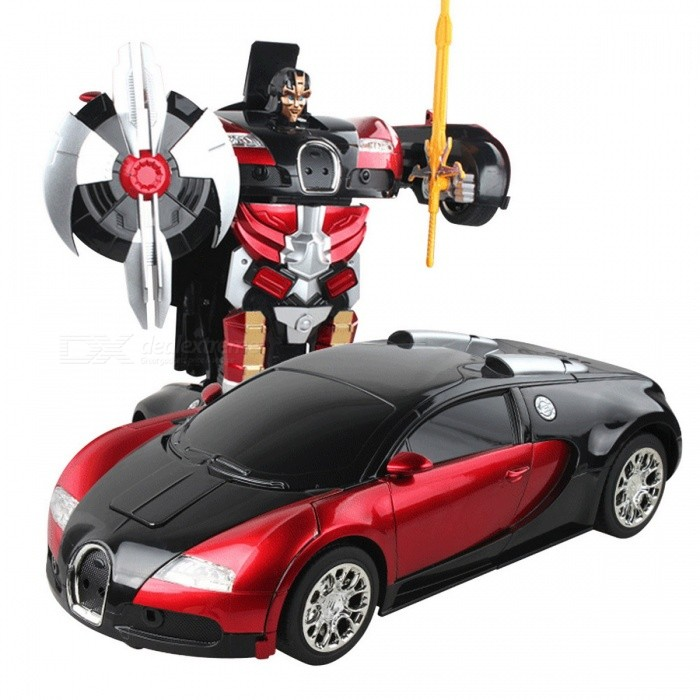 Dayspirit Remote Car Intelligent Induction Deformation Robot - RedR/C Cars<br>Form  ColorBlack + Red + Multi-ColoredMaterialABS,PVC,MetalQuantity1 setShade Of ColorBlackShape ModelSports CarScaleOthers,1:14Channels Quanlity3 channelFunctionUp,Down,Left,RightRemote control frequency2.4GHzRemote Control Range10 mSuitable Age 5-7 years,8-11 years,12-15 years,Grown upsCameraNoCamera PixelNoLamp YesBattery Capacity350 mAhBattery TypeOthers,Rechargeable BatteryCharging Time1 hourWorking Time1 hourRemote Controller Battery TypeAARemote Controller Battery Number2Packing List1 x Car toy1 x Remote controller<br>